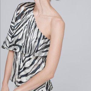 Zebra One-Shoulder Blouse